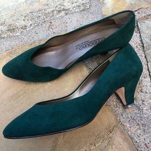 Vintage 80's 90's Bandolino Green Suede Leather
